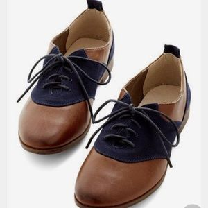 Restricted blue and brown oxfords